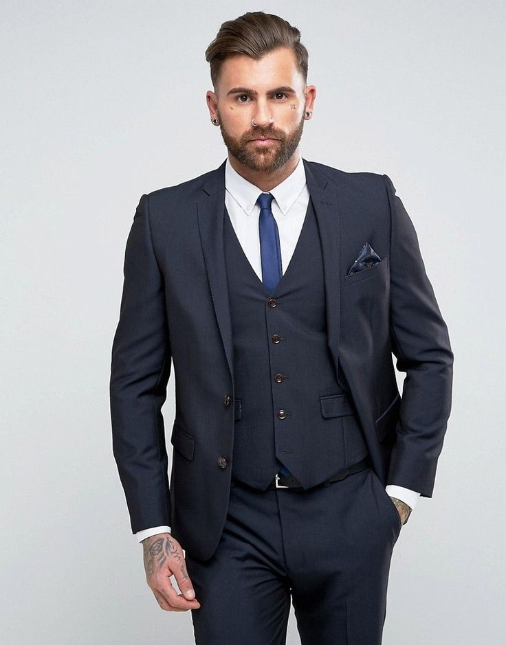 Harry Brown Slim Fit Plain Suit Jacket - Navy