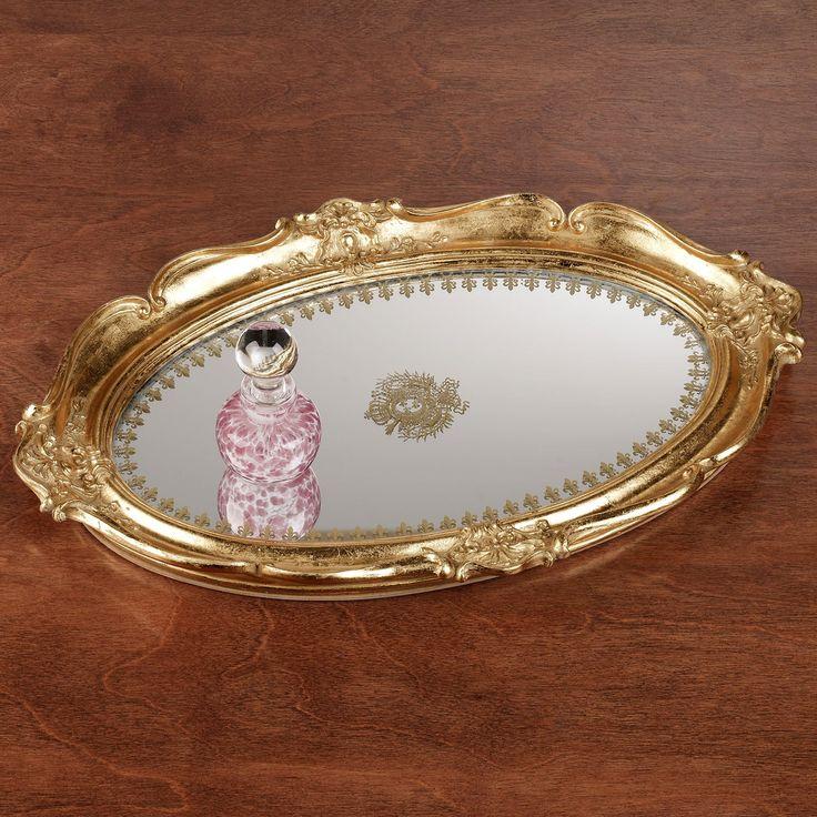 vanity trays   Home > Adina Gold Scalloped Mirrored Vanity Tray