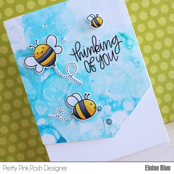 Pretty Pink Posh: Bubble Watercolor Technique. Bee Friends stamp set. Mix water, dishwashing liquid and paint, or liquid watercolour as I'm using today, mix together, blow bubbles using a straw and press your paper on top and it creates an amazing bubble watercolour look. It's super fun and gives amazing and different results every time.