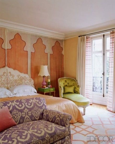 Inspiring 66 Mysterious Moroccan Bedroom Designs : 66 Mysterious Moroccan Bedroom Designs With White Brown Bedroom Wall Bed Pillow Blanket Nightstand Lamp Window Curtain Green Chair And Purple Sofa And White Carpet Flooring