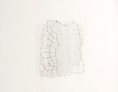 Susan Hefuna  Building, 2008  Pencil and embroidery on tracing paper,  53.5 x 69 cm