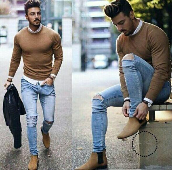 Herren Chelsea-Stiefel mit dem Riemen Stiefel Street Luxury Boots für Herren