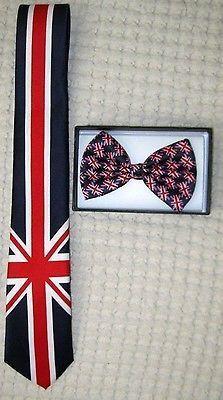 """UK British Flag 3"""" Wide Neck Tie & UK British Adjustable Bow Tie Combo-A4"""