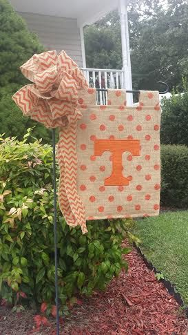 This beautiful burlap garden flag has a six inch applique letter made from orange burlap that has shimmery threads to match the shiny Polka Dots. It is