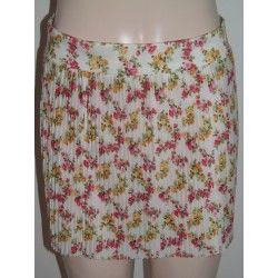 Bershka dámská plizé sukně bílá s květy S