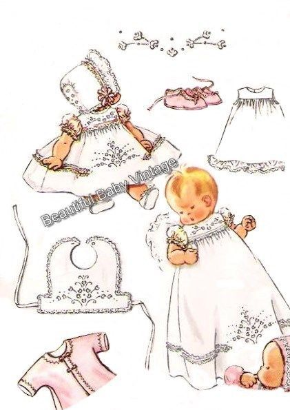 Vintage 1950 Baby Christening Dress Jacket Bonnet Bootee Bib Sewing Pattern COPY #BeautifulBabyVintageReproductionPatterns