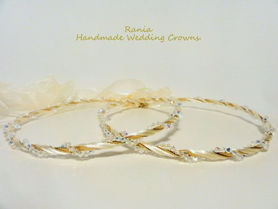Handmade Stefana.Orthodox Wedding crowns.Gold by RNIA on Etsy, €75.00