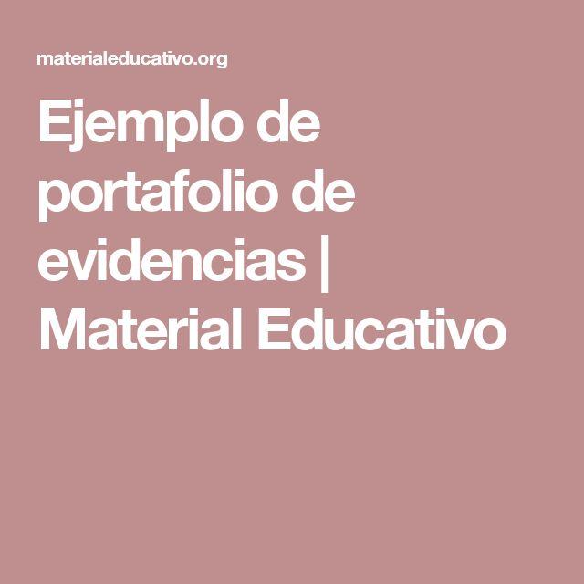 Ejemplo de portafolio de evidencias   Material Educativo