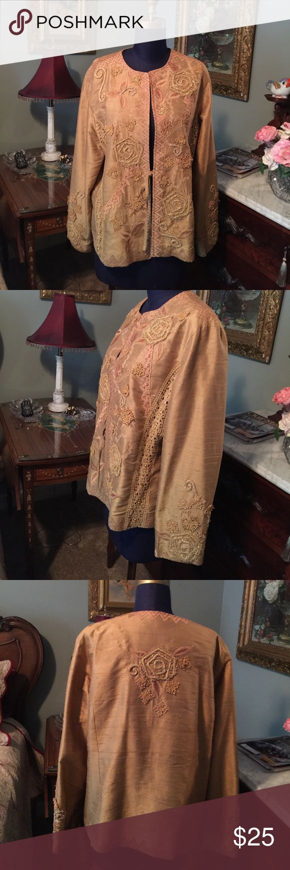 """Timeless Silk, heavily Embroidered Evening Jacket. This is a timeless """"Coldwater Creek"""" Silk, and heavily Embroidered evening, or Holiday jacket. It is the color gold, with sequins, and lace. It has a small tie in the front, and measures a generous 22"""" from armhole to armhole in front. Lightly padded shoulders. This is a winner! Coldwater Creek Jackets & Coats Blazers"""