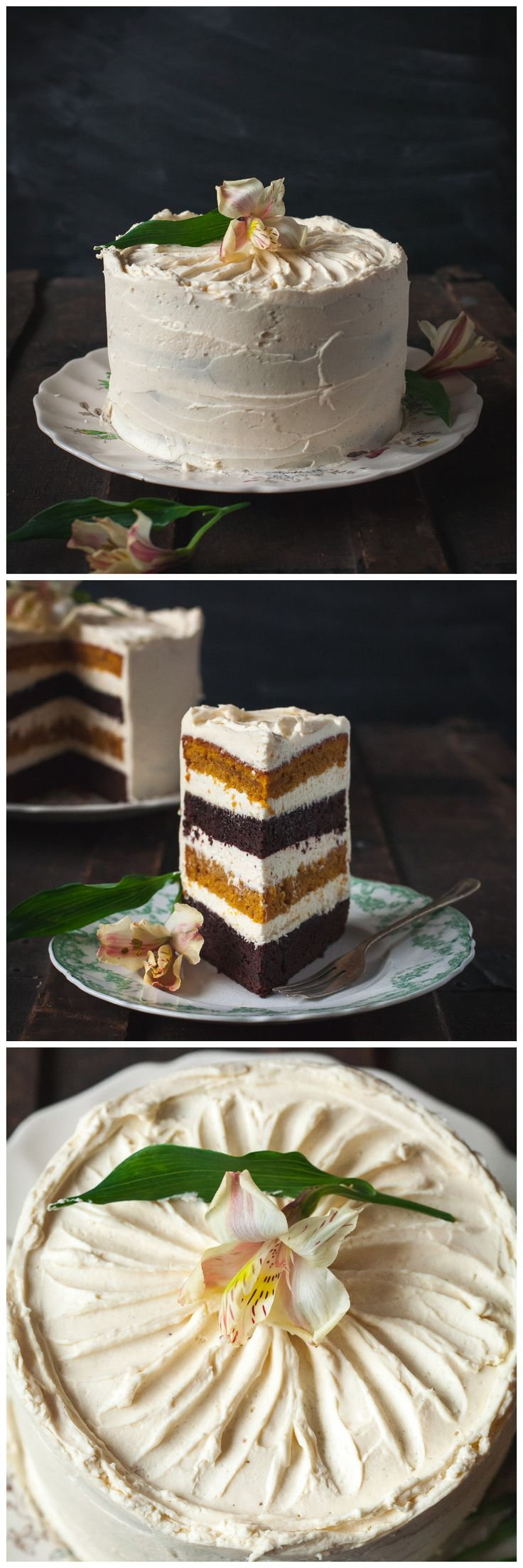 Chocolate and pumpkin layers filled with maple cinnamon mascarpone-this cake will be the most beautiful finish to your holiday feast!