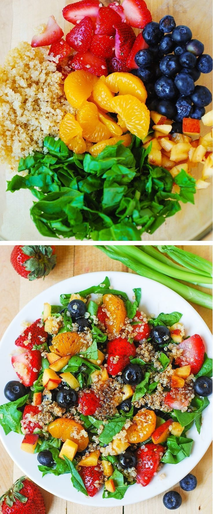 Quinoa salad with spinach, strawberries, blueberries, and peaches, in a homemade Balsamic vinaigrette dressing.  This recipe is vegetarian, vegan, gluten free, healthy, and just plainly delicious!