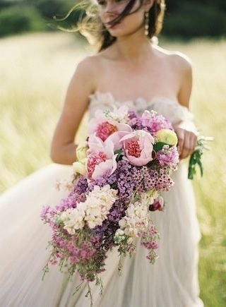 2015 Wedding Trends - Cascading Bouquets Lilacs, peonies, and tulips   Photo by Jose Villa   Floral design by Kelly Oshiro