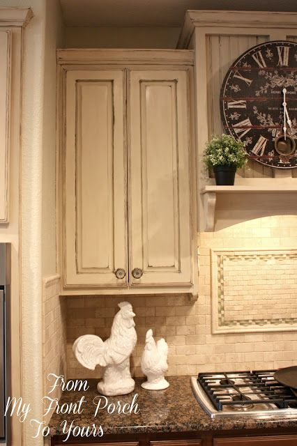 This is close to the look we want for our kitchen cabinets (sometime in the future). Creating a French Country Kitchen Cabinet Finish Using Chalk Paint (Annie Sloan Chalk Paint used for this).
