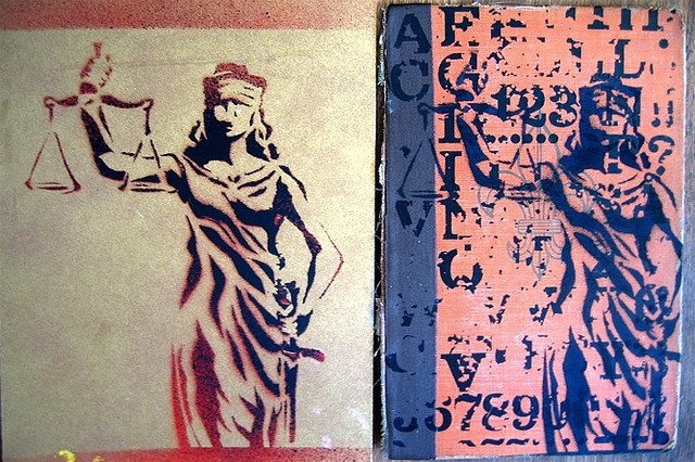 Lady Justice stenciled by Luella Mae