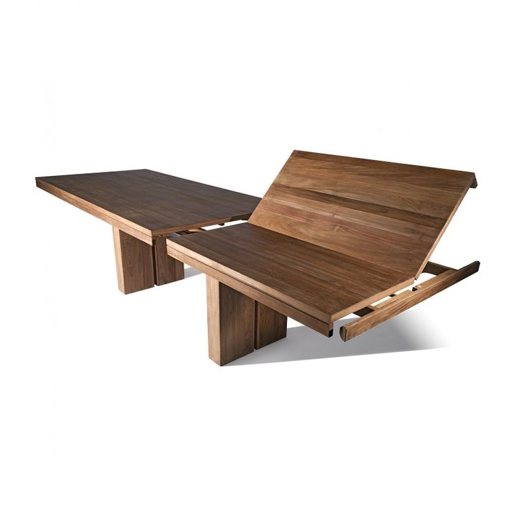 Industry West Teak Double Extendable Dining Table