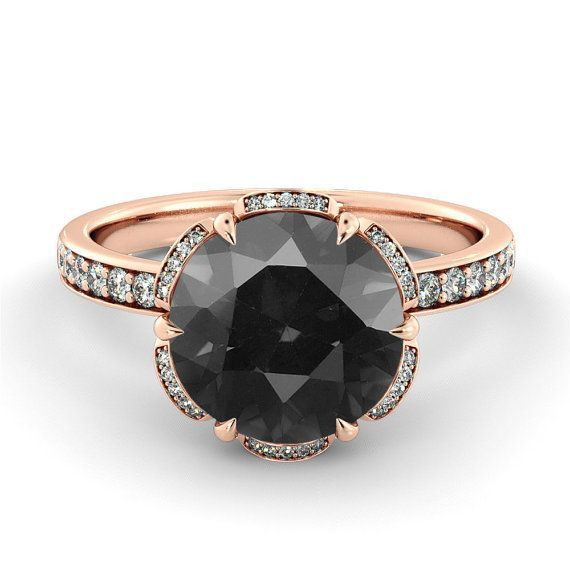 Hey, I found this really awesome Etsy listing at https://www.etsy.com/listing/246886050/black-diamond-engagement-ring-flower