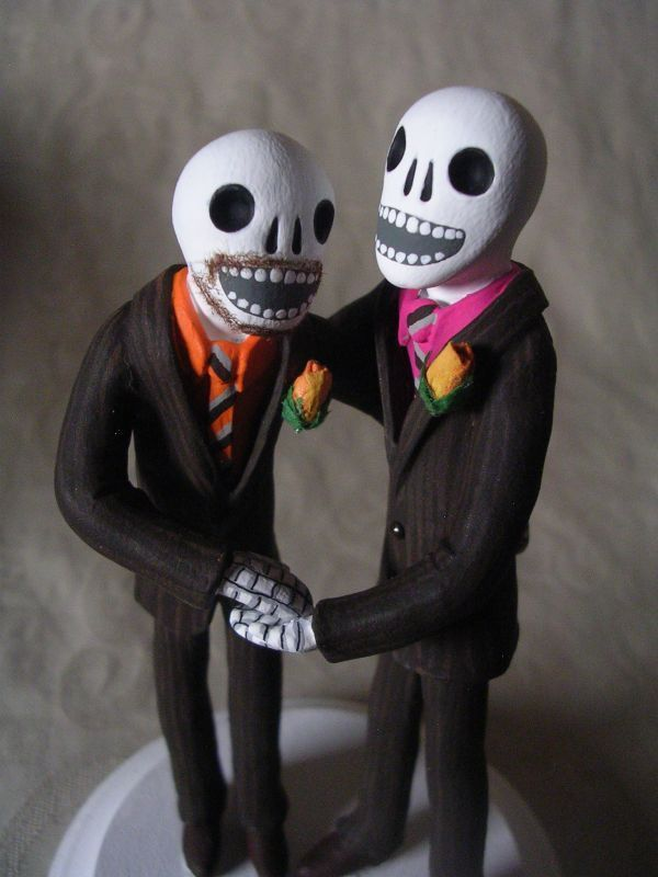 Day Of The Dead Wedding Cake Topper Two Grooms