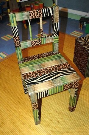 Chair makeover using Decopatch paper.