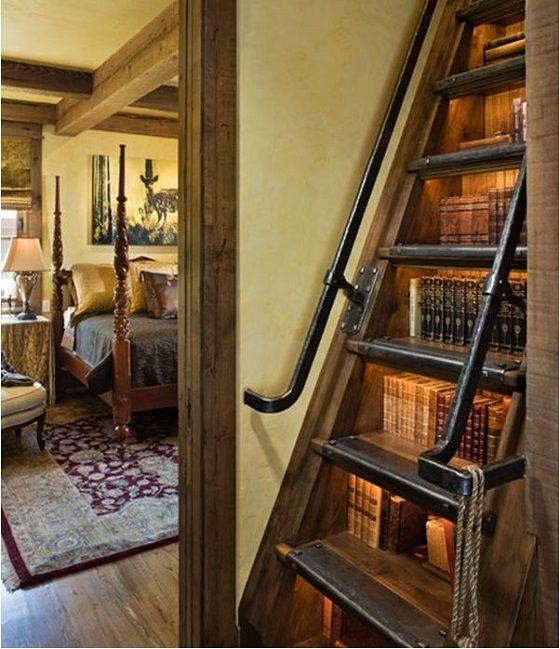 Bookshelf built into stairs, brilliant!