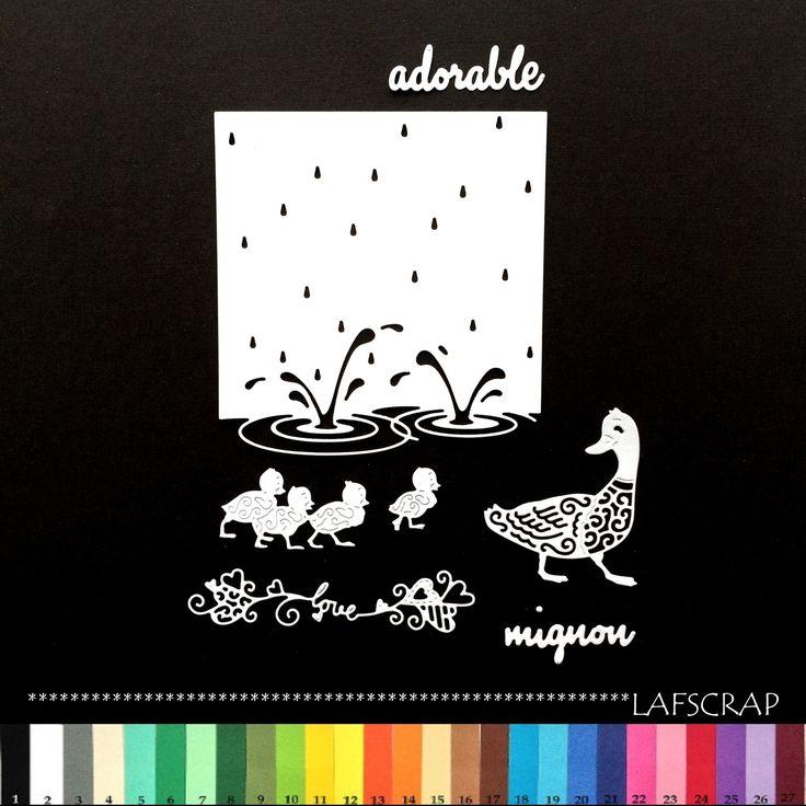 découpes scrapbooking canard bébé animal love amour coeur mot mignon adorable eau mer étang lac : Embellissements par lafscrap