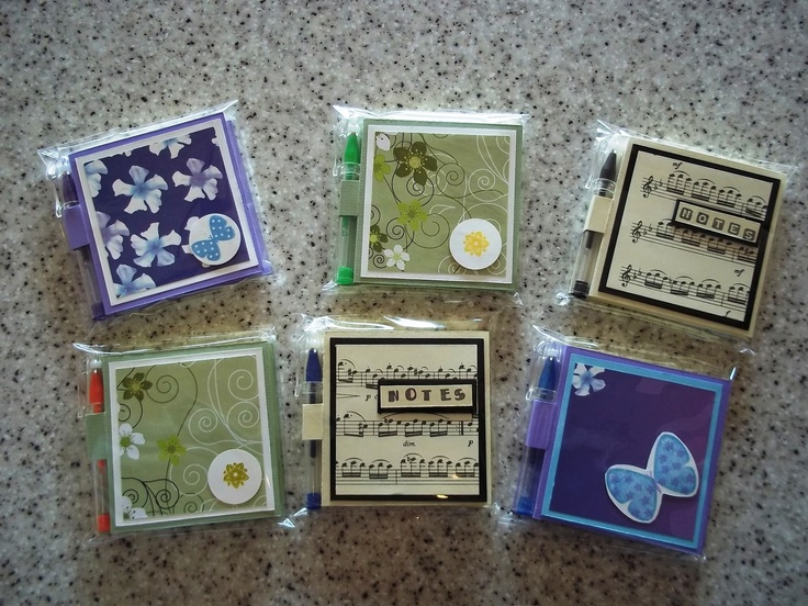 Sticky note holders with mini pen.