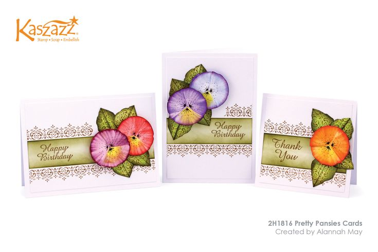 This project will show you how to create three gorgeous cards featuring handmade Pansies. This project includes trimming, cutting by hand, scoring, folding, stamping and ink blending.