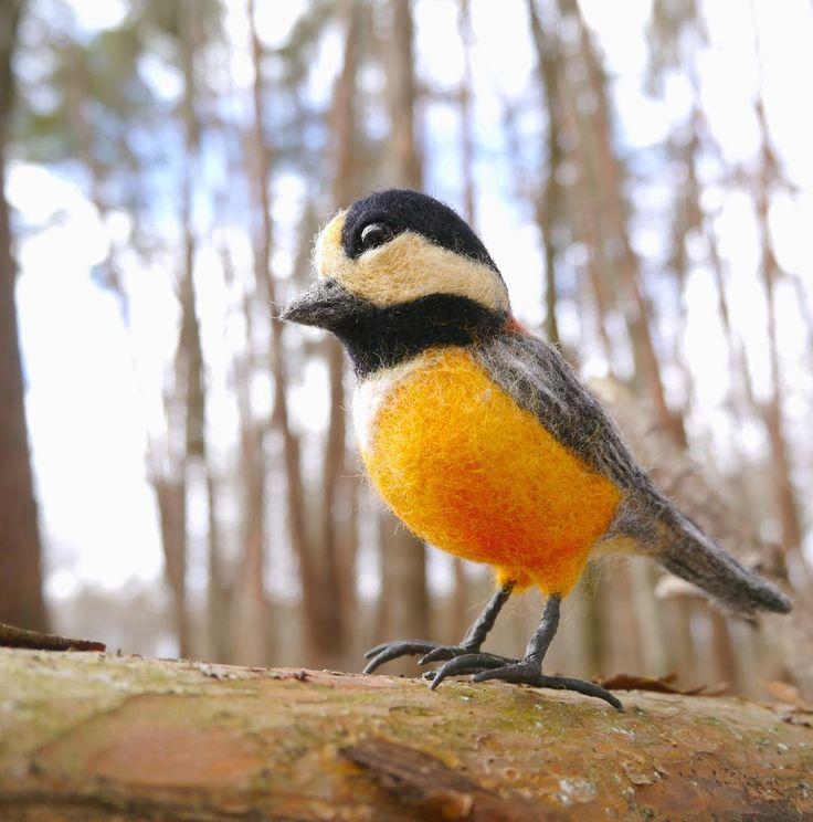 ヤマガラ Varied  #羊毛フェルト#needlefelt #needlefelting #feltart #とり #bird #birds
