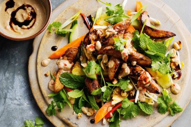 The creamy dressing offsets the crunchy salad for a wonderful meal that is ready with minimal effort.