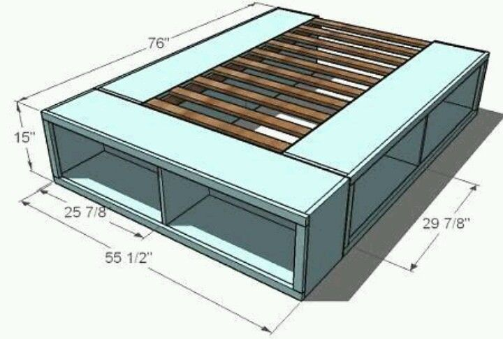 Platform bed with storage underneath for supplies