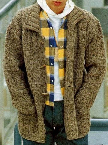 Men's hand knit buttoned cardigan 1A