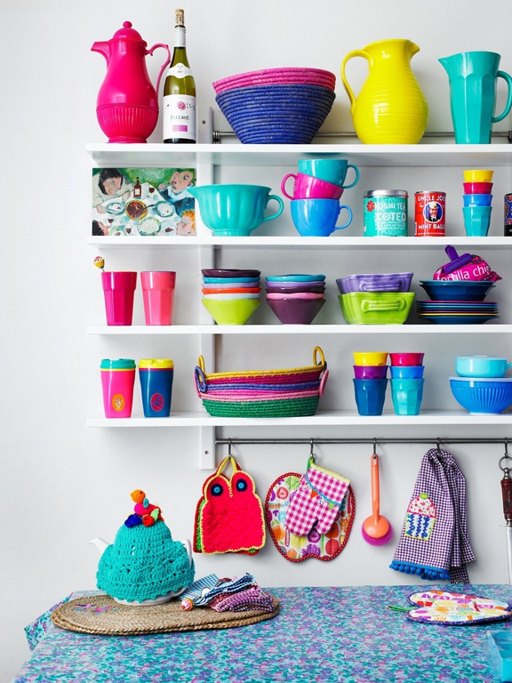 colorful kitchen storage shelving