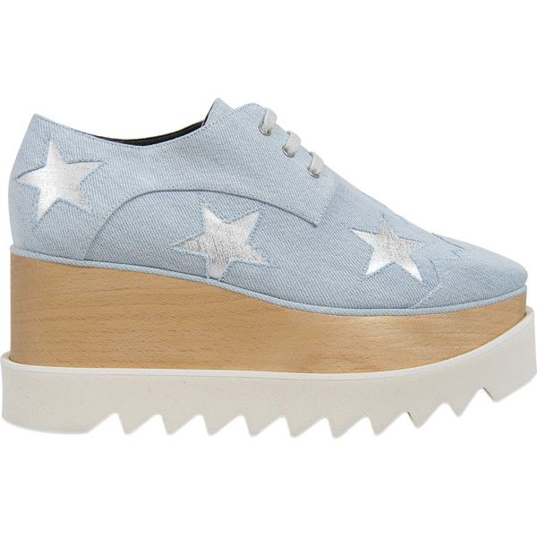 Stella McCartney Elyse Stars Denim sneakers (1 425 BGN) ❤ liked on Polyvore featuring shoes, sneakers, blue, denim sneakers, stella mccartney shoes, stella mccartney trainers, denim shoes and blue trainers