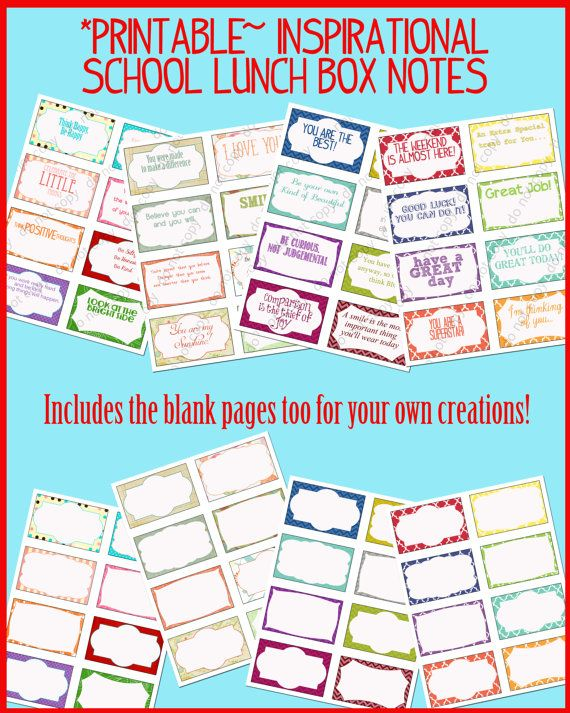 Instant Download- 32 Inspirational School Lunch Box Notes- Backpack Notes for Kids- Includes blank notes too