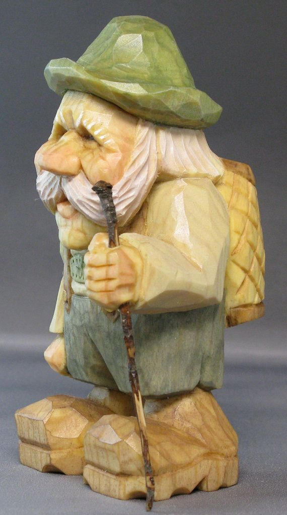 gnome alpine hiker backpack nordic statue wood by cjsolberg