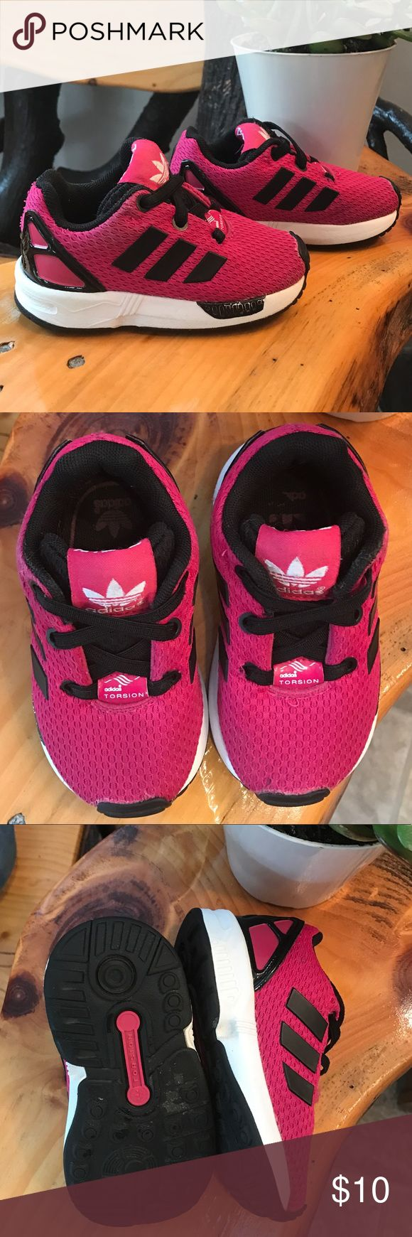 Adidas Shoes- Little Girl Hot pink, white and black patent leather Adidas Torsion ZX Flux. Size 5K/5 Toddler. Good used condition. adidas Shoes Sneakers
