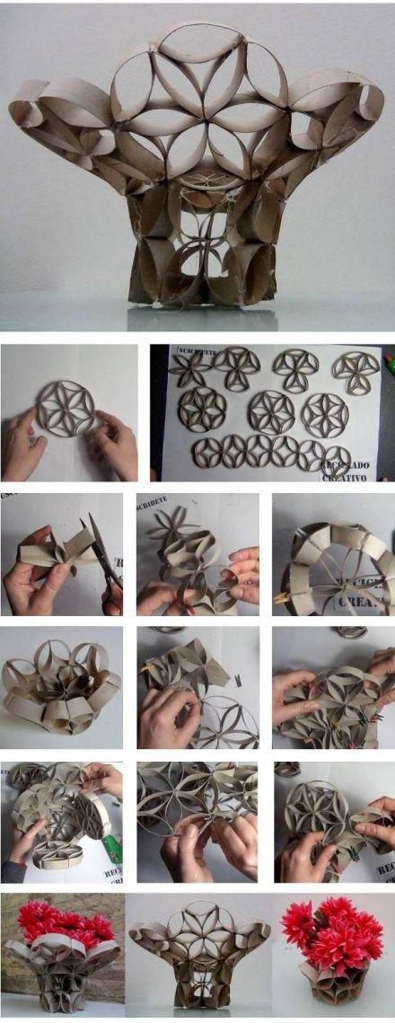 DIY: Vaso feito de rolos de papel higiênico