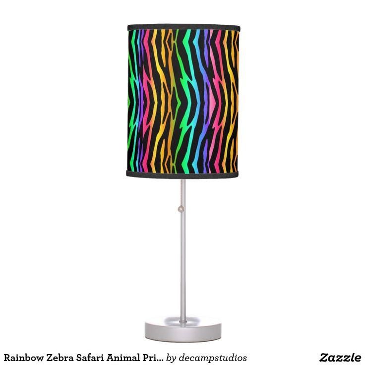 Rainbow Zebra Safari Animal Print Desk Lamp