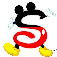 Original alfabet inspireret af Mickey Mouse.