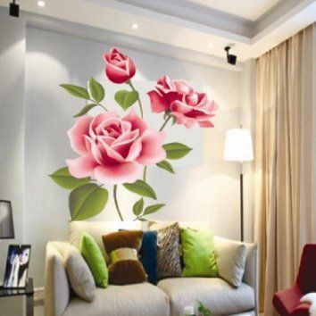 Donalworld DIY Peony Flower Leaves Removable Wall Sticker Decal Rose