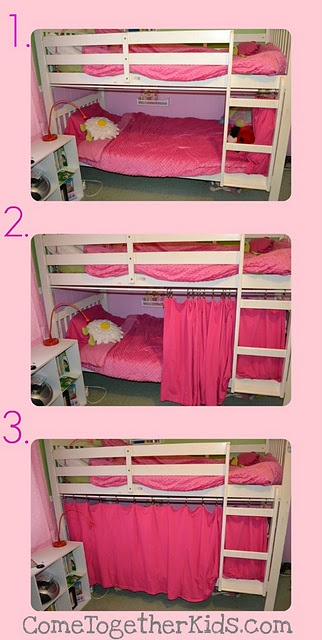 No sew, super easy fort for bottom bunk. Definitely would want to decorate so it looked like a castle or pirate ship...something a little less girly ;-)