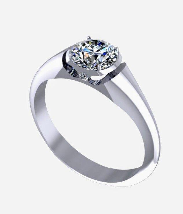 Anel Solitario De Diamante E Ouro Branco 18k Sugestao Para