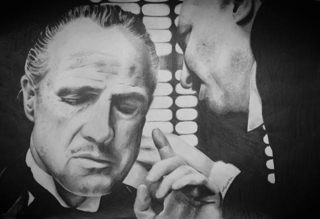 The God Father, Handmade Pencil Drawing , Portrait Drawing