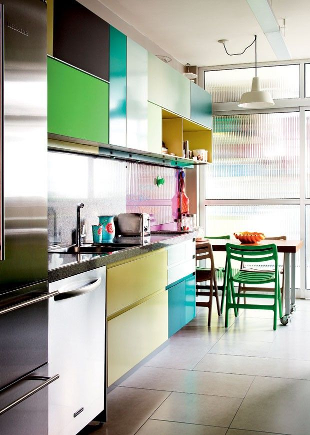 Creative and colorful kitchen cabinets