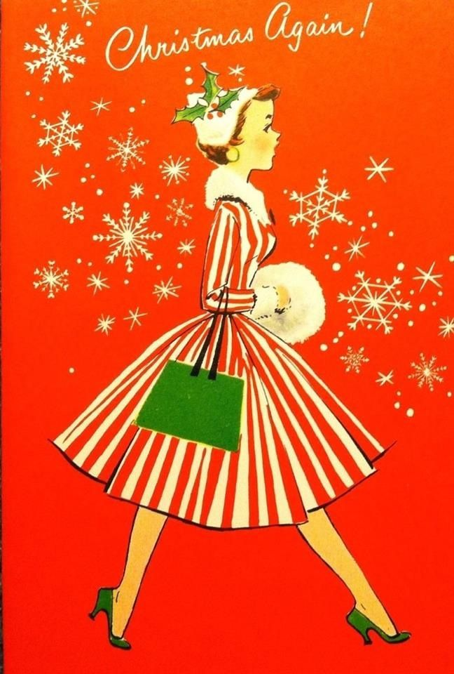 Vintage 50s Christmas card graphic.