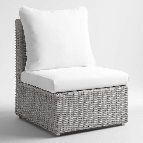 One of my favorite discoveries at WorldMarket.com: Gray All Weather Wicker Veracruz  Sectional Armless Chair