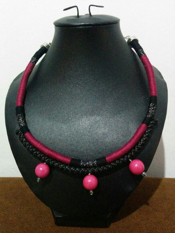 - Red Wine - Rope Statement Necklace Handcrafted by myself, one-of-a-kind-pieces ...please visit my Instagram @bootlessellen to get more handcrafted products...