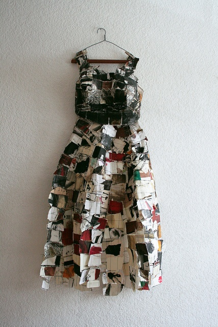 paper dress by Erika Kuhn - pieces of drawings sewn together