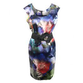 Mooie jurk van  Jospeh Ribkoff in prachtig bloem patroon. In de taille een brede zwarte riem. maar het jurkje kan ook perfect gedragen worden zonder riem.