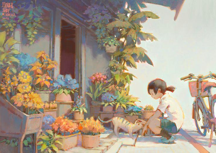 FlowerShop, Krenz Cushart on ArtStation at https://www.artstation.com/artwork/Nbk8g
