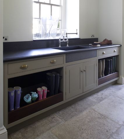 Hand Painted Boot Room With Antiqued Oak Bench Seat Drawer Fronts And Interiors